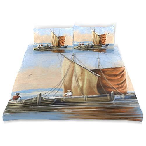 LONSANT Fishing Boats Painting Sea Landscape Fine Duvet Cover Set Design Bedding Decoration Twin XL 3 PC Sets 1 Duvets Covers with 2 Pillowcase Microfiber Bedding Set Bedroom Decor Accessories ()