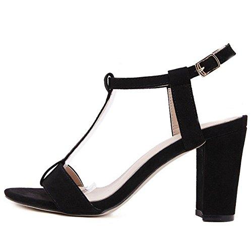 COOLCEPT Zapatos Mujer Moda Punta Abierta Cut Out Correa En T Tacon Ancho alto Sandalias for Fiesta Vestir Travail Negro