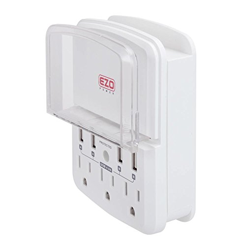 UL Certified Outlet Strip Charger EZOPower Wall Mount Power Surge Protector with 3 AC Outlet Plug + 4 USB Ports (4.8A) + Phone Holder Slot - White