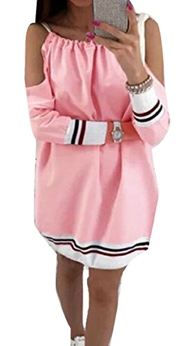 Women Sweatshirt Long Dress Cold Fashion Jaycargogo Pink Sleeve s The Shoulder OwBTqd