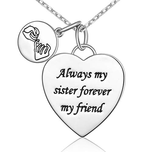 SILVER MOUNTAIN S925 Sterling Silver Pinky Promise Always My Sister Forever My Friend Love Heart Pendant Necklace Bff Gift for Women Girls