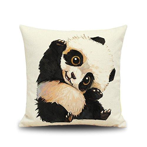 Cute Panda Theme Flax Throw Sofa Car Cushion Cover 18 X 18 Inch Digital Printed Panda Bear Pillowcase Novelty Home Decor (Panda Care Bear)