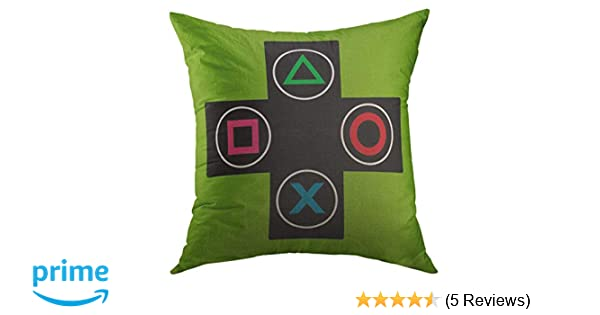 Mugod Decorative Throw Pillow Cover for Couch Sofa,Green Console Gamer Video Games Black Round Home Decor Pillow case 18x18 Inch