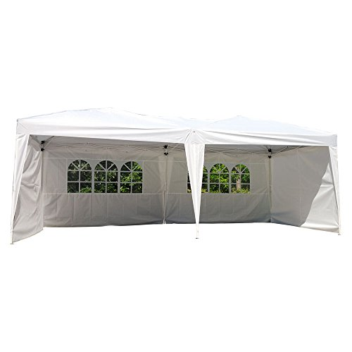 Z ZTDM 10'x 20′ Ez Outdoor Pop Up Shade Tent, Easy Up Canopy,Heavy Duty White Shelter 4 Removable Sidewalls &2 Church Style Windows,Instant Folding Party Wedding Canopy Tent Review