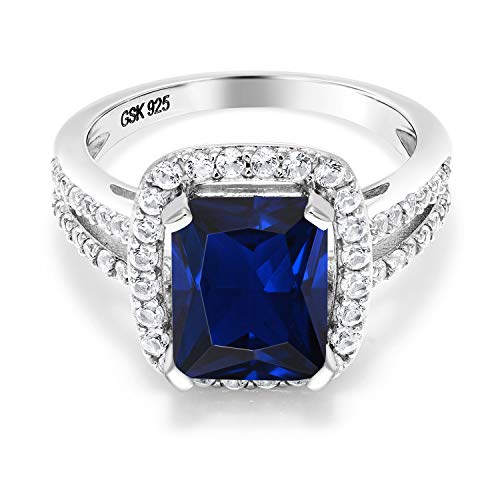 Gem Stone King 925 Sterling Silver Blue Simulated Sapphire Women
