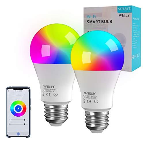 Bombilla LED Inteligente WiFi E27, WEILY 9W LED 1600 Million RGB Cambio de color Bombilla LED E27 Compatible con Alexa y…