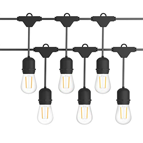 Costzon LED String Lights, 48 Ft Waterproof Commercial Grade Decorative Outdoor String Lights, UL Listed, 15 Hanging Sockets, 16PCS S14 2W LED Bulbs, Suitable for Garden Café Wedding Malls (1 Pack)