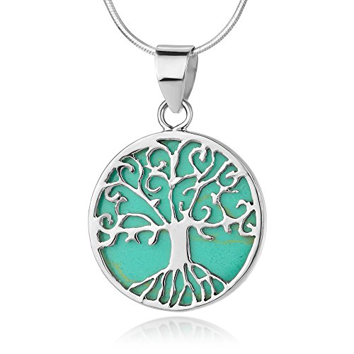 Sterling Silver Filigree Tree of Life Symbol Round Blue Turquoise Pendant Necklace w/Chain 18