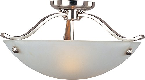 Maxim 21261FTSN Contour 2-Light Semi-Flush Mount, Satin Nickel Finish, Frosted Glass, MB Incandescent Incandescent Bulb , 60W Max., Dry Safety Rating, Standard Dimmable, Glass Shade Material, Rated Lumens Maxim Lighting Silver Chandelier