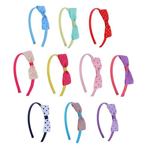Polka Bow Ribbon Dot (Girl Baby Toddler Grosgrain Ribbon Hair Bow Headband Polka Dot 10-pcs by ColorBeBe (A-19))