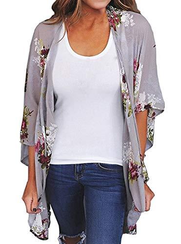 Finoceans Ladies Sheer Chiffon Cardigans Summer Batwing Kimonos Grey Floral L ()