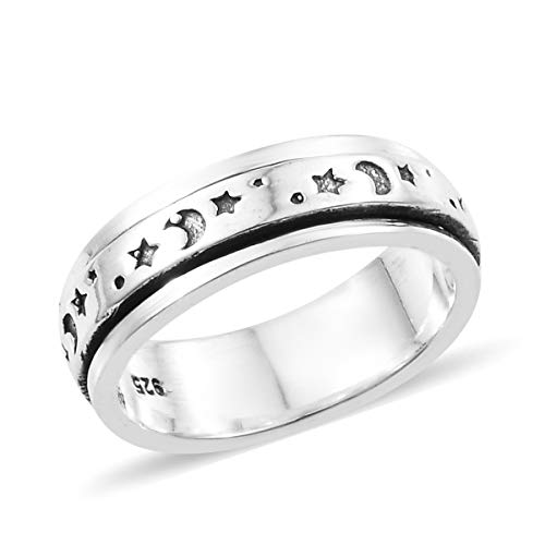 (Moon Star Spinner Statement Ring 925 Sterling Silver Boho Handmade Jewelry for Women Size 6)