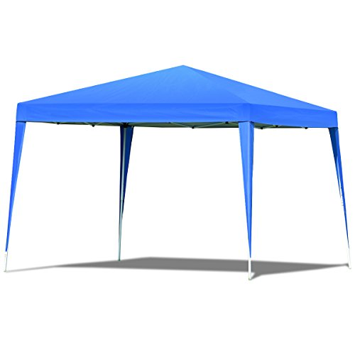 Tangkula Outdoor Tent 10'X10' EZ Pop Up Portable Lightweight Height Adjustable Study Instant All Weather Resitant Event Party Wedding Park Canopy Gazebo Shelter Tent with Carry Bag (Blue)
