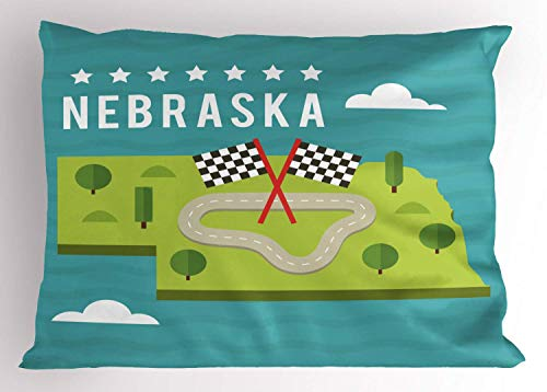 HFYZT Nebraska Pillow Sham, Map of Nebraska State Flags Road and Green Trees American Landmark, Decorative Standard King Size Printed Pillowcase, 18 X 18 Inches, Turquoise and ()