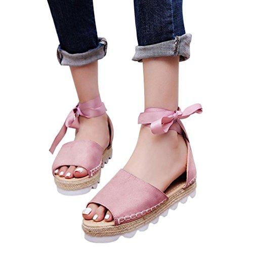 HLHN Women Sandals, Roman Peep Toe Ankle Cross Strap Platform Flat Heel Shoes Espadrilles Casual Vintage Lady Pink