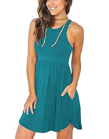 7549e368 WNEEDU Women's Summer Casual Sleeveless Swing Dress Sundress with Pockets