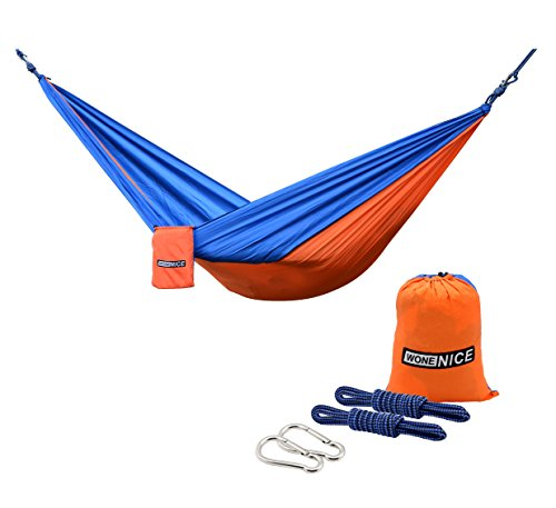 WoneNice Camping Hammock - Portable Lightweight Double Nylon Hammock, Best Parachute Hammock with 2 x Hanging Straps for Backpacking, Camping, Travel, Beach, Yard and Garden (Orange/Blue)