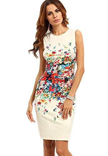 Floerns Women's Sleeveless Floral Work Party Cocktail Bodycon Dress Multicolor XL