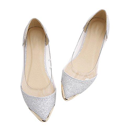 (VFDB Fashion Glitter Transparent Ballet Shoes Sparkling Embellish Slip On Jelly Flats Silver)