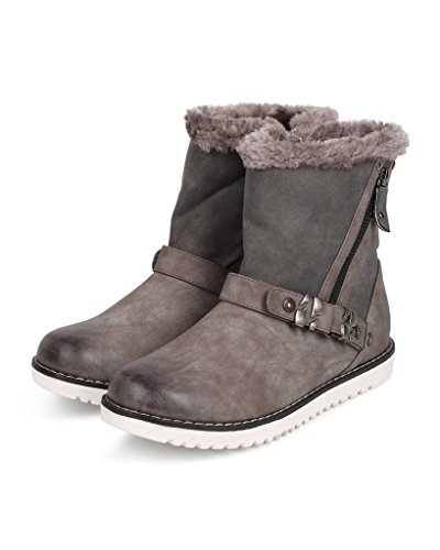 Grey Zip Moby1 Fur Leatherette Motorcycle Bootie Toe Boot Round Liliana 4zIwqv
