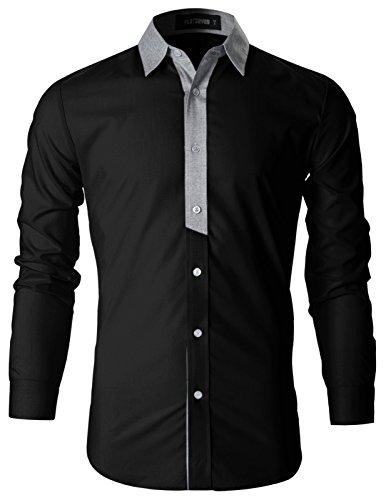 Contrast Collar Shirt (FLATSEVEN Mens Stylish Contrast Collar Casual Shirt (SH1011) Black, L)