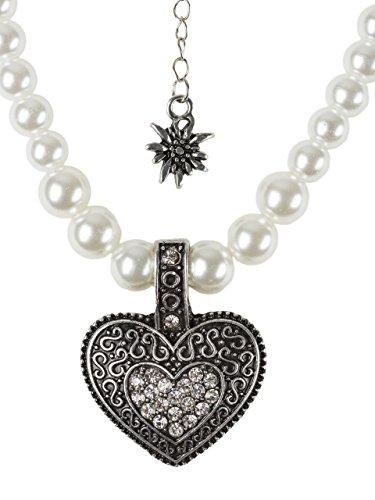 elegante Perlenkette mit großem Herz und kleinen Edelweiss Anhänger Strasssteine schwarz oder weiss Trachtenkette für Dirndl und Lederhose (Weiss)
