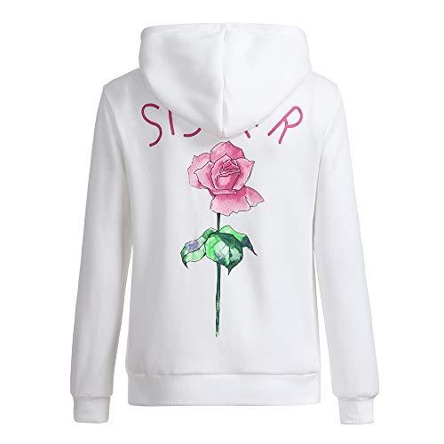 Ladies Hoodies,Cute Best Friends Hoodies Rose Sister BFF Couple Hooded Sweatshirt for Teen Girls (%White, S)]()
