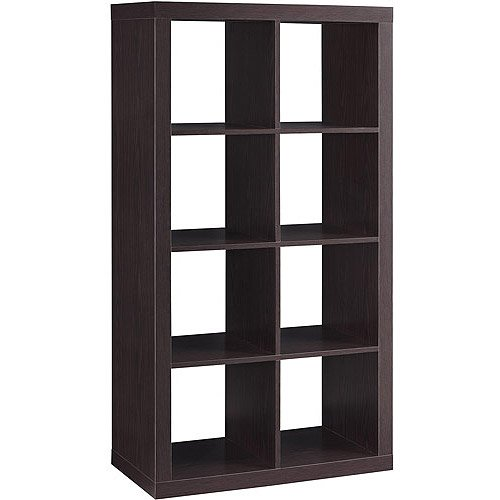 (Shelly Shelves Wood Storage Organizer - 8 Cube Storage Organizer - Espresso)