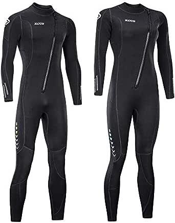 ZCCO Traje de Neopreno Ultra elástico de 3 mm con Cremallera Frontal, Traje de Buceo Completo, una Pieza para Hombres y Mujeres, esnórquel, Buceo, natación, Surf