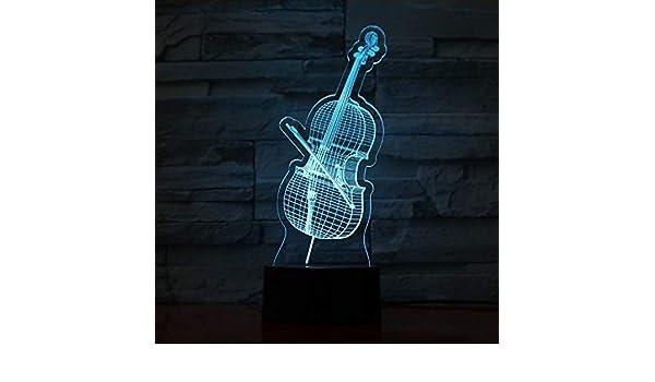 Música Guitarra Led Lámpara Usb Lámpara 3D Instrumento de Violín 7 colores Toque remoto Dormitorio Luces Atmósfera Luz Regalos de la novedad: Amazon.es: ...