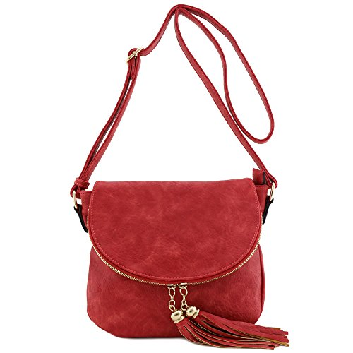 Tassel Accent Crossbody Bag with Flap Top Red
