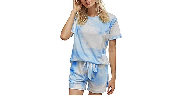 FEOYA Mujer Pijama Set Corto Camiseta y Shorts Verano Tie-Dye ...