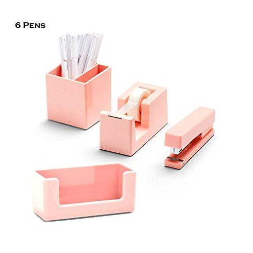 Poppin 10 Piece Set Fresh Start Desk Collection (Blush)