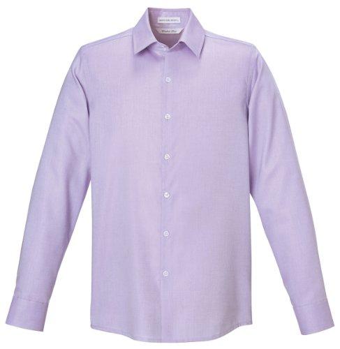 Refine Men's Wrinkle Free 2-Ply 80'S Cotton Royal Oxford Dobby Taped Shirt, L...