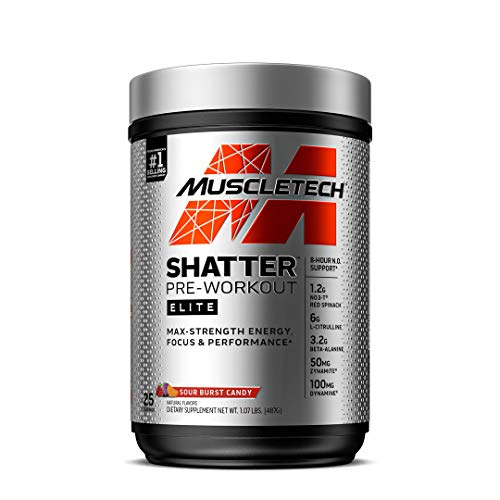 Pre Workout for Men & Women | MuscleTech Shatter Elite | Preworkout Energy Powder | Max Strength for Explosive Energy | 8 Hour Nitric Oxide Booster | Sour Burst Candy, 1 lb (25 Servings)