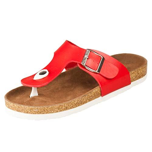 AOJIAN Shoes Women's Sandals Indoor Outdoor Buckle Pump Flats Flip Flop Slide Slipper Clog Mule Red