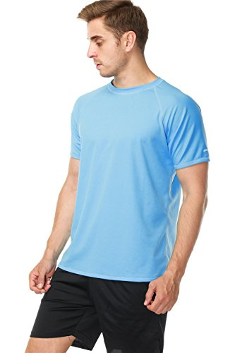 anfilia Men's Rash Guard Short Sleeve Swim Shirts Sportwear Loose Fit UPF 50+