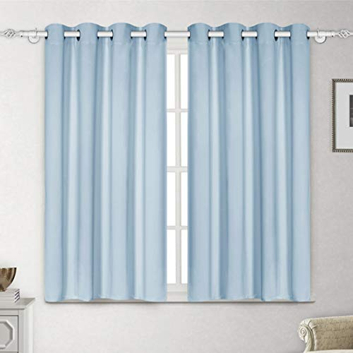 (LUXUER Set of 2 Curtain Panels Set Sky Blue Blackout Thermal Insulated Darkening Grommet Drapes Solid (52x63 Inch, Sky Blue) Window Treatment Home Decor)
