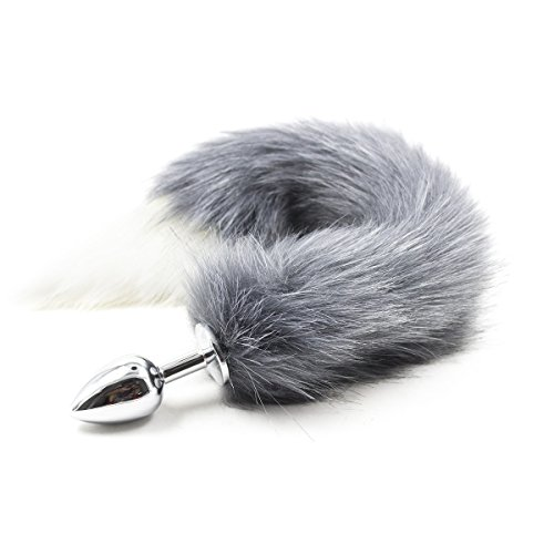 First View Fox Tail Butt Anal Plug Romance Insert SM Special Sex Toy for Adult Cospaly (Gray White)