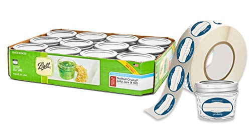 - 12 Ball Mason Jelly Jars with Lids and Bands, 4 oz, Quilted, and 72 Dissolvable Labels