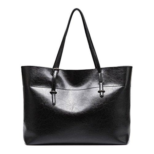 junkai Bolso de mano para mujer,Bolso de Cuero de la PU,Moda Bolsos para Mujer,bolso bandolera mujer Gran capacidad negro