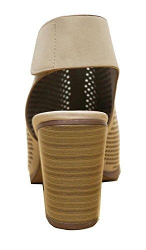 Cambridge Selezionare Donna Taglio Laser Slingback Impilati Pompa Tallone Bootie Beige