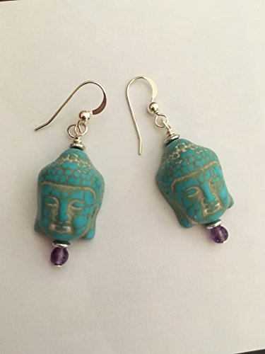 Zen Gemstone Buddha Head Earrings with Sterling Silver Ear Wires, Yoga (Reconstructed Stones Ring)