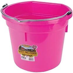 Miller Manufacturing P20FBHOTPINK Plastic Flat Back Bucket for Horses, 20-Quart