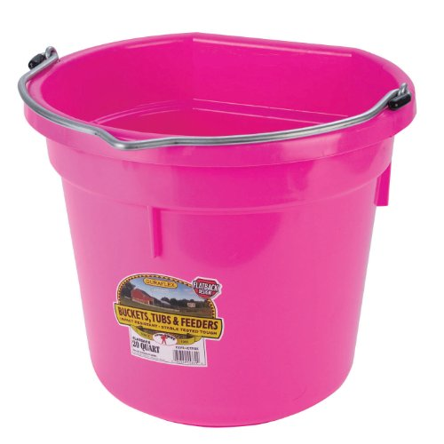 Image of Miller Manufacturing P20FBHOTPINK Plastic Flat Back Bucket for Horses, 20-Quart