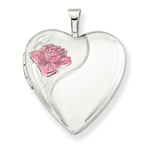 Silver 20mm Rose Leaf Pendants - 925 Sterling Silver 20mm Enameled Rose Heart Photo Pendant Charm Locket Chain Necklace That Holds Pictures W/chain Fine Jewelry For Women Gift Set