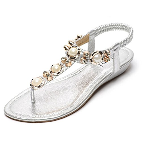 Bumud Womens Studded Pearl Rhinestone Cut Out Dress Flat Thong Sandals Silver
