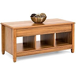 Coffee Table Lift Top Storage for Living Room Wood Furniture in Modern Contemporary and Unique Design In Oak