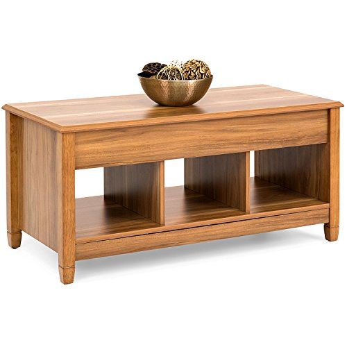 Coffee Table Lift Top Storage for Living Room Wood Furniture in Modern Contemporary and Unique Design In Oak (Table Standing Game Foosball)