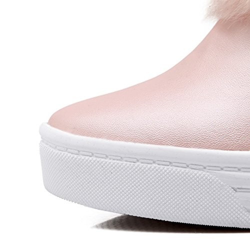 AllhqFashion Womens Soft Material Pull-on Round Closed Toe High-Heels Low-top Boots Pink oldnfx